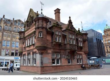 GLASGO, UNITED KINGDOM - Jun 28, 2015: A closeup shot of St  Enoch subway station entrance and ticket office in Glasgow, Scotland