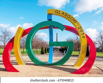"""Glasgow 2014 Commonwealth Games sculpture in Glasgow Green. Known as the """"Big G"""", it was positioned in George Square during the games."""