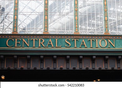 Glasgow central station view. Old architecture detail. transportation by train