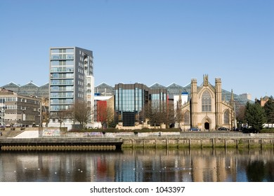 Glasgow city centre, including St. Andrew's Catholic Cathedral and the glass roofed St. Enoch Centre