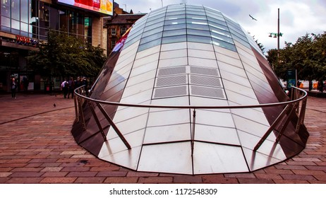 Glasgow City Centre, Scotland, UK; August 24th 2018: The modern glass roofed entrance to St. Enoch underground station.