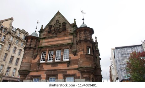 Glasgow City Centre, Scotland, UK; August 24th 2018: The old red sandstone building of the Caffe Nero in St. Enoch Square.