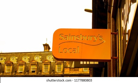 Glasgow City Centre, Scotland, UK; August 24th 2018: Shop sign for Sainsbury's Local.