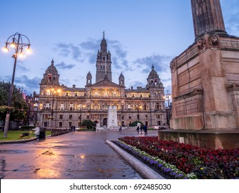 Glasgow City Chambers in George Square, Glasgow Scotland at night.