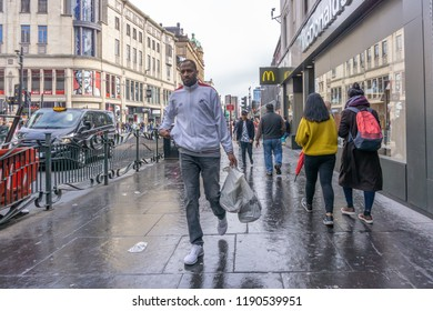 Glasgow City, Scotland, UK - September 22, 2018: A very busy Argyle Street in the city centre with its many retail and commercial outlets and busy with shoppers.