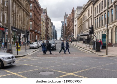 Glasgow City, Scotland, UK - September 22, 2018: Looking up Bothwell Street busy with pedestrians and traffic.