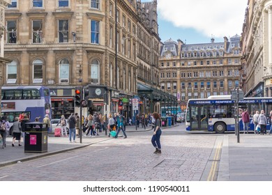 Glasgow City, Scotland, UK - September 22, 2018: Gordon St looking along to Glasgow central Station very busy with traffic and pedestrians.
