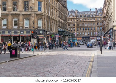 Glasgow City, Scotland, UK - September 22, 2018: Gordon St looking along to Glasgow central Station very busy with pedestrians and traffic.