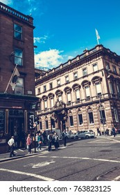 Glasgow city, streets with people and tourists walking, 01. 08.2017