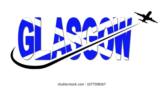 Glasgow flag text with plane silhouette and swoosh illustration
