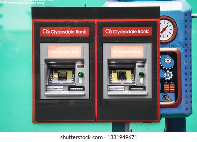 Glasgow / Great Britain - February 23, 2019: Exterior view of Clydesdale Bank ATM Chash Machines on public street