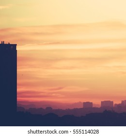 Glasgow High Rise At Dawn With Copyspace