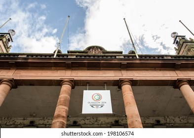 GLASGOW - JUNE, 2014:  Glasgow 2014 Commonwealth Games Official Logo in fornt of the Kelvin Hall International Sports Arena . Glasgow will be proud host of 2014 games from 23 July-?3 August 2014.