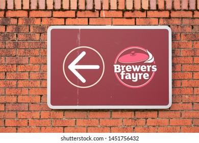 Glasgow, Lanarkshire / Scotland - July 10th 2019: Brewers Fayre pub chain opening at new Premier Inn hotel