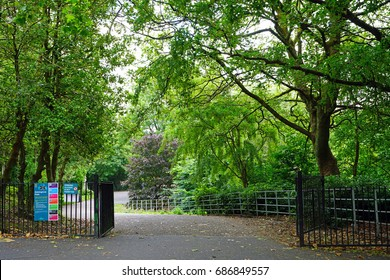 GLASGOW, SCOTLAND -11 JUL 2017- View of the Kelvingrove Park, a public park ad garden in the West End of Glasgow including the Kelvingrove Art Gallery and Museum  in Glasgow, Scotland.