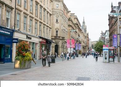 Glasgow, Scotland - 17 September 2016 : People walking on Buchanan shopping street on 17 September 2016 in Glasgow, United Kingdom