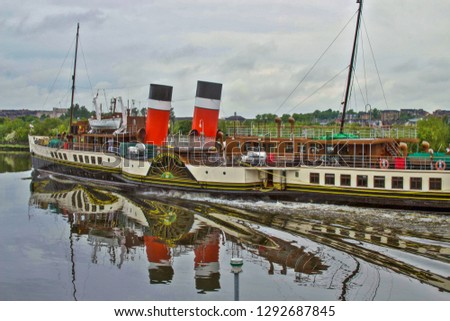Glasgow, Scotland - 20 May 2017:  Paddle Steamer Boat Named Waverley Glasgow on River Clyde