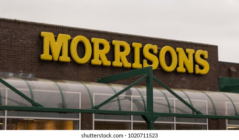 Glasgow, Scotland - 22 January 2018: Yellow Morrisons Sign On Supermarket Building Above Entrance
