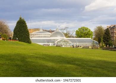 Glasgow, Scotland - 28 April 2021: Glasgow Botanic Gardens Look at The Kibble Palace