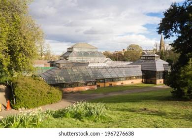 Glasgow, Scotland - 28 April 2021: Glasgow Botanic Gardens the Main Range of Glasshouse