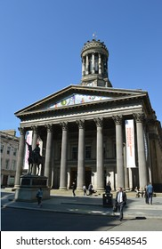 GLASGOW, SCOTLAND - 3 MAY 2017: GoMA (Glasgow Museum of Modern Art) in the former Royal Exchange is probably best known for Marochetti's  Duke of Wellington statue with locally added traffic cone.