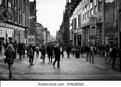 Glasgow, Scotland - April 10, 2015:people are walking up and down on the Buchanan road in the Center of Glasgow in Scotland 2015