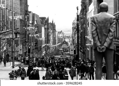 Glasgow, Scotland - April 12, 2015:people are walking up and down on the Buchanan road in the Center of Glasgow in Scotland 2015