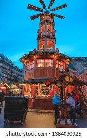 GLASGOW, SCOTLAND - April 28, 2019: Glasgow Christmas market. The Christmas markets at George Square and St Enoch Square offering a wide selection of festive gifts and delicious foods.