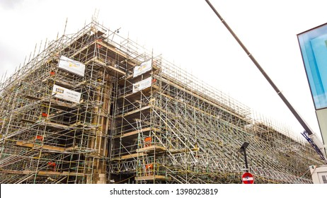 Glasgow, Scotland; April 29th 2019: The Glasgow School of Art designed by the famous Scottish architect and designer Charles Rennie Mackintosh. Building covered in scaffolding.