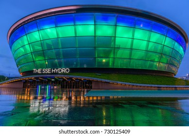 GLASGOW, SCOTLAND - AUGUST 15, 2017 - Night view of the modern concert hall of Glasgow in a rainy day.
