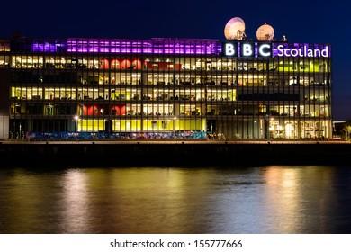 GLASGOW, SCOTLAND - AUGUST 27: BBC Scotland's headquarters at night,  on August 28th, 2013 in Glasgow, Scotland, UK