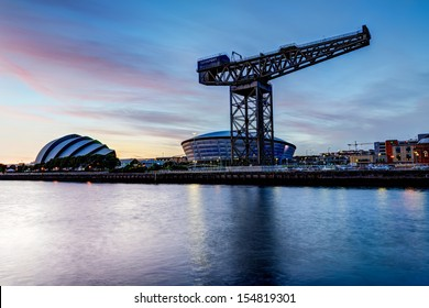 GLASGOW, SCOTLAND - AUGUST 27: Clyde River view at sunset on August 27th, 2013 in Glasgow, Scotland, UK