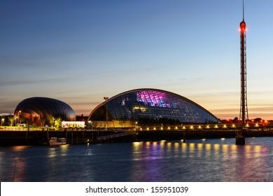 GLASGOW, SCOTLAND - AUGUST 27: The Glasgow Science Centre at dusk, on August 27th, 2013 in Glasgow, Scotland, UK