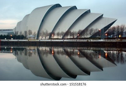 GLASGOW, SCOTLAND - DECEMBER 25: The Clyde Auditorium reflecting on the River Clyde on December 25, 2010 in Glasgow, Scotland. The Clyde Auditorium was completed in 1997.