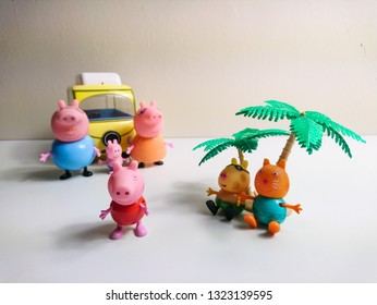 Glasgow, Scotland - February 25, 2019: A small collection of much loved peppa pig toys