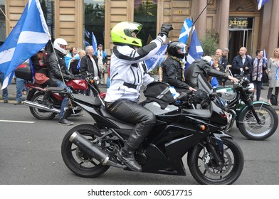 Glasgow, Scotland - George square September 19, 2015 - Gathering of Independence supporters to mark the 1st anniversary of Independence referendum held on 14-09-2014
