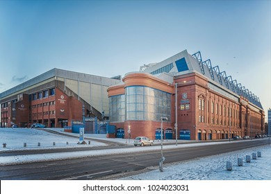 GLASGOW, SCOTLAND - JANUARY 17, 2018: A view of the world famous Ibrox stadium which is home to Rangers football club.
