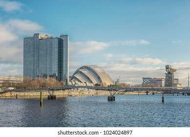 GLASGOW, SCOTLAND - JANUARY 17, 2018: A cityscape view of Glasgow from along the river clyde.