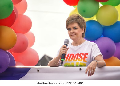 GLASGOW, SCOTLAND - July 14, 2018: First Minister Nicola Sturgeon speaking up and leading the march for Pride Glasgow 2018, to promote LGBTI equality rights.