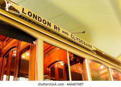GLASGOW, SCOTLAND - JULY 16, 2016: Old tram in the Riverside Museum (Glasgow Museum of Transport), Glasgow Harbour,  Scotland. It was established in 2011