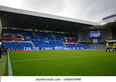 GLASGOW, SCOTLAND - JULY 18, 2019: Rangers ultras display a tifo prior to the 2nd leg of the 2019/20 UEFA Europa League First Qualifying Round game between Rangers FC and St Joseph's.