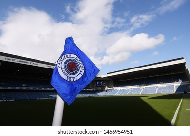 GLASGOW, SCOTLAND - JULY 18, 2019: A corner flag pictured prior to the 2nd leg of the 2019/20 UEFA Europa League First Qualifying Round game between Rangers FC nd St Joseph's.