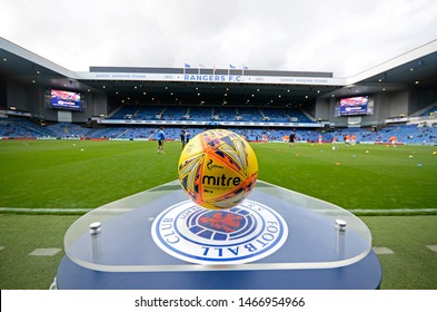 GLASGOW, SCOTLAND - JULY 18, 2019: THe official Scottish Premiership ball pictured prior to the 2019/20 UEFA Europa League First Qualifying Round game between Rangers FC and St Joseph's.