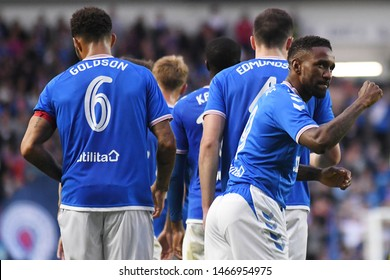 GLASGOW, SCOTLAND - JULY 18, 2019: Jermaine Defoe celebrates after he scored his first during the 2019/20 UEFA Europa League First Qualifying Round game between Rangers FC and St Joseph's.