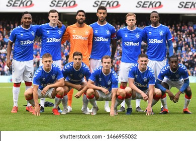 GLASGOW, SCOTLAND - JULY 18, 2019: Rangers starting players pose ahead of the 2019/20 UEFA Europa League First Qualifying Round game between Rangers FC (Scotland) and St Joseph's FC (Gibraltar).