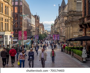 GLASGOW, SCOTLAND - JULY 20: Buchanan Street on July 20, 2017  in Glasgow, Scotland. Buchanan Street is the main shopping district in Scotland and has many fine restaurants and shops.