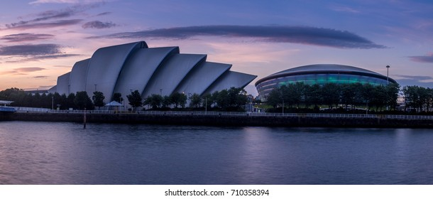 GLASGOW, SCOTLAND - JULY 21: The River Clyde with the SEC Armadillo and SSE Hydro on July 21, 2017 in Glasgow, Scotland. The Armadillo and Hydro are part of i Glasgow's conference and event district.