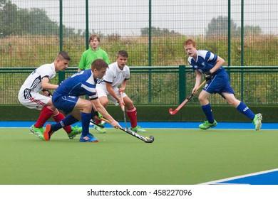 Glasgow, Scotland -  July 23rd 2016. EuroHockey Youth championships held at the Glasgow National Hockey Centre. Warm up match between Scotland and Switzerland U18 men.