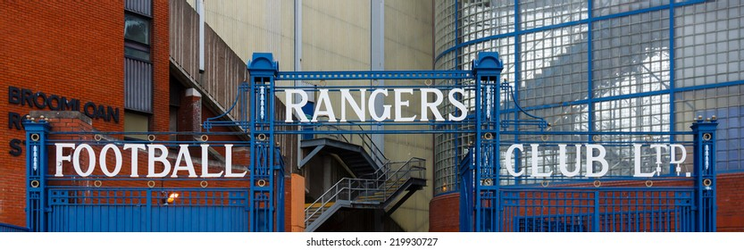 GLASGOW, SCOTLAND - JULY 26: The gates outside the Bill Struth Main Stand at Ibrox Stadium, home of Glasgow Rangers Football Club in Scotland and pictured on July 26, 2014.