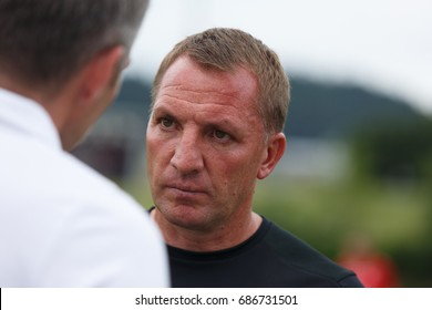 GLASGOW, SCOTLAND - JULY 30, 2017: Brendan Rodgers close-up portrait. Northern Irish football coach and former player who is the manager of Scottish Premiership club Celtic.